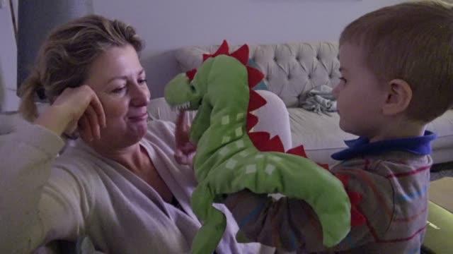 ママと息子の動物のおもちゃで遊ぶ - 竜点の映像素材/bロール