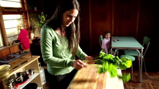 vídeos de stock e filmes b-roll de mãe dá nos espinafres frescos no jardim - legume de folhas
