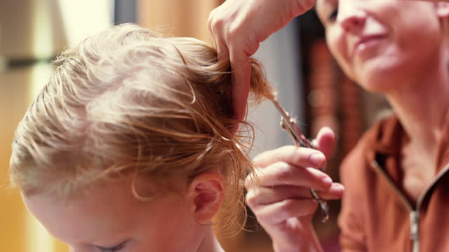 mom & son haircut - hairstyle stock videos & royalty-free footage