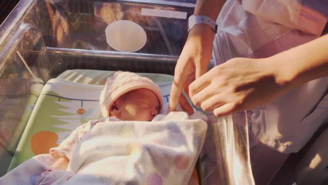 vídeos de stock, filmes e b-roll de mãe com recém-nascido dormindo bonito no hospital - de braços dados