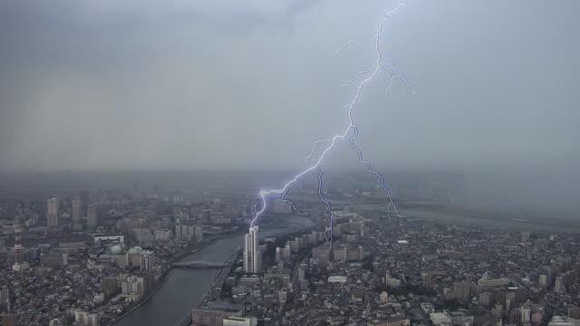 Moment Of Lightning Strike, Tokyo, Japan