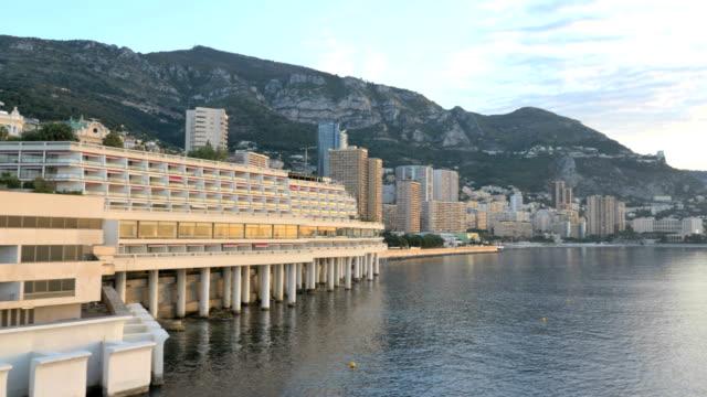 monaco aerial drone monte carlo city building finance - monaco stock videos & royalty-free footage