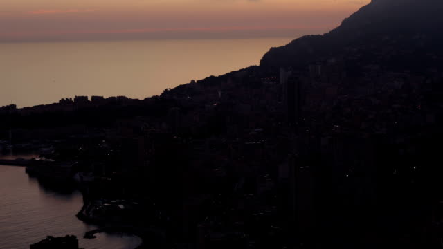 monaco (monte carlo) aerial view night timelapse - monaco stock videos and b-roll footage
