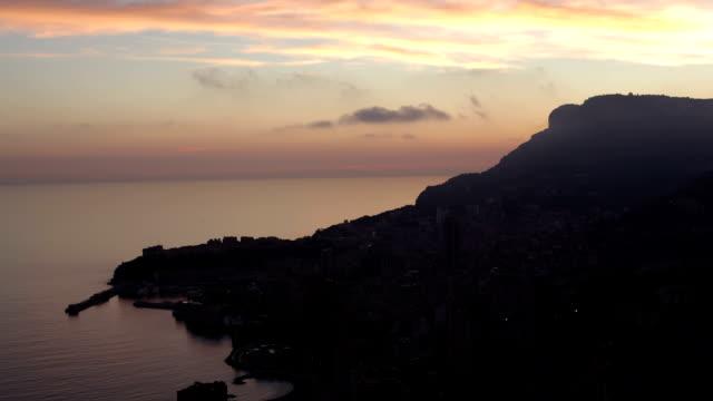 monaco (monte carlo) aerial view night timelapse - monaco stock videos & royalty-free footage