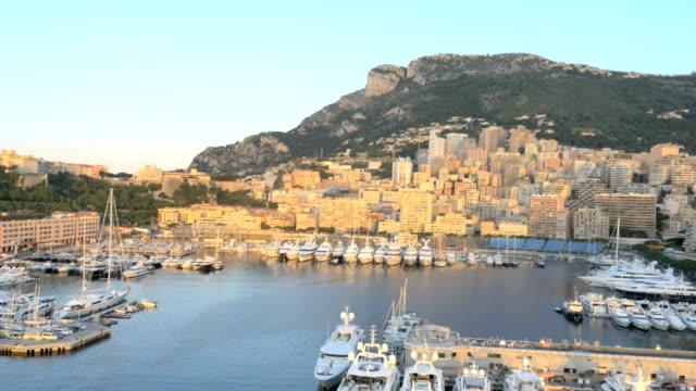 monaco aerial yacht monte carlo water finance marina - monaco stock videos & royalty-free footage