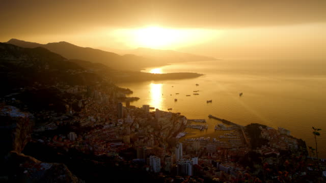 ds monaco city at sunset - monaco stock videos and b-roll footage