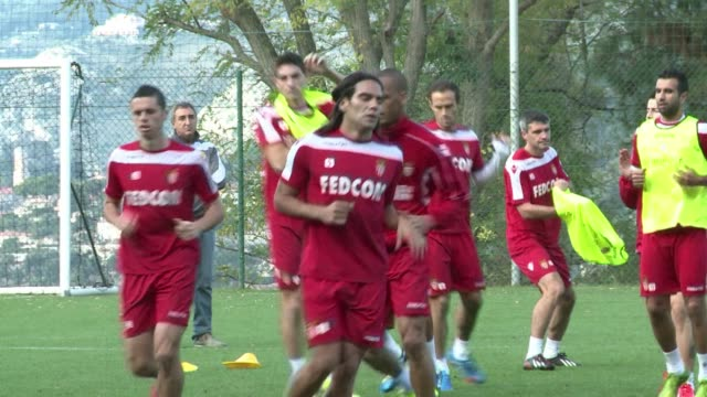 vídeos de stock, filmes e b-roll de as monaco currently in second place in frances ligue 1 are in training ahead of their match against olympique lyonnais on sunday clean as monaco in... - olympique lyonnais