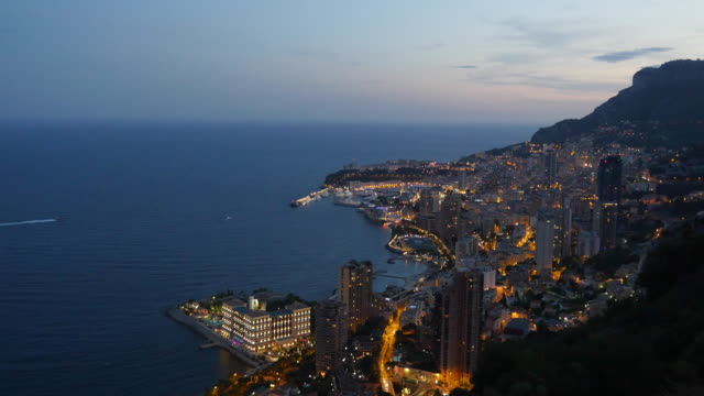 monaco harbour at twilight. - monaco stock videos and b-roll footage