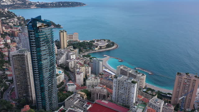 monaco, larvotto odeon tower, drone aerial view - helicopter point of view stock videos & royalty-free footage