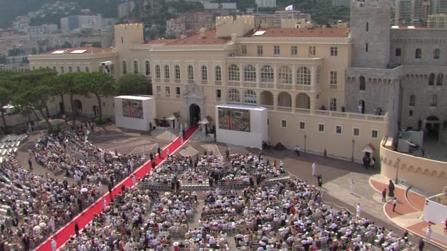 monaco palace at the monaco royal wedding religious ceremony arrivals at monaco - royal palace monaco stock videos and b-roll footage