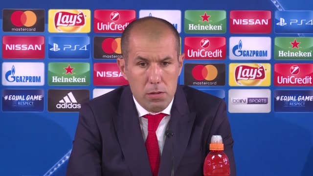 Monaco's head coach Leonardo Jardim attends a press conference following the UEFA Champions League Group G soccer match between AS Monaco and...