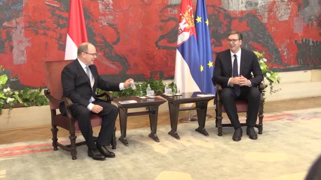 monaco's prince albert ii, who is paying an official visit to serbia, iswelcomed with an official ceremony by president aleksandar vucic in the... - monaco stock videos & royalty-free footage