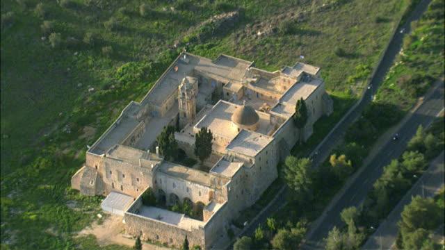 aerial monastery of the cross / jerusalem, israel - circa 11th century stock videos & royalty-free footage