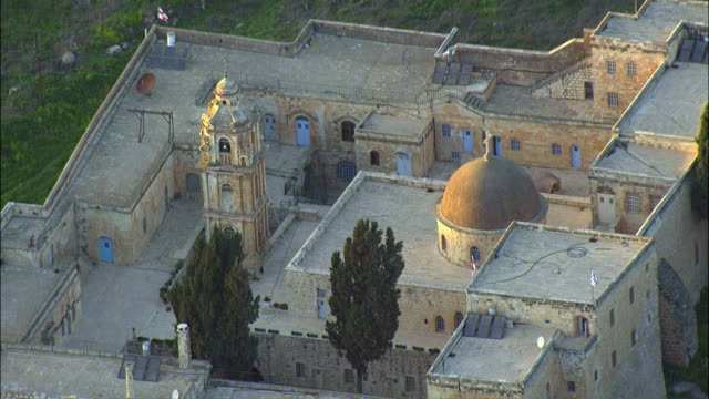 aerial zo monastery of the cross / jerusalem, israel - circa 11th century stock videos & royalty-free footage