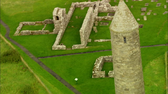monastery on devenish island, lough erne  - aerial view - northern ireland, united kingdom - circa 12th century stock videos and b-roll footage