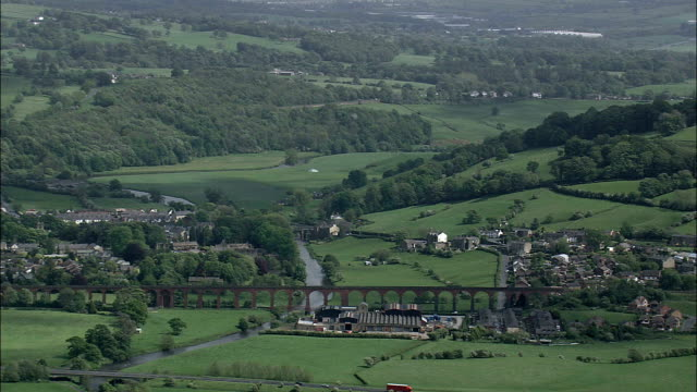 monastery ruins at whalley  - aerial view - england,  lancashire,  ribble valley district helicopter filming,  aerial video,  cineflex,  establishing shot,  united kingdom - lancashire stock videos and b-roll footage