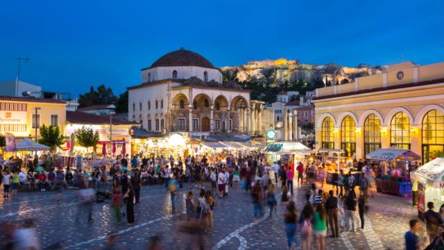 tl ws monastiraki square, entrance to flea market and tzistarakis mosque - town square stock videos & royalty-free footage