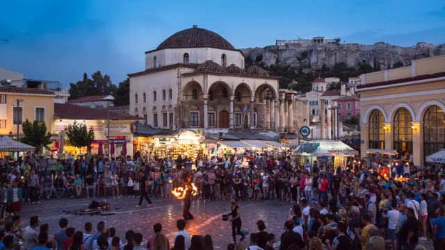 ws monastiraki square entrance to flea market and tzistarakis mosque - athens greece stock videos & royalty-free footage