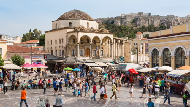 ws monastiraki square, entrance to flea market and tzistarakis mosque - europe stock videos & royalty-free footage
