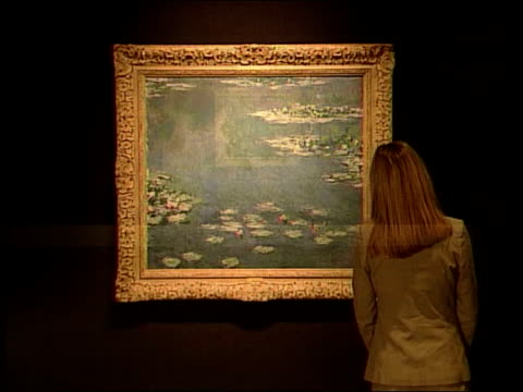 monet painting displayed for first time in 80 years itn london woman looking at monet painting of water lillies which has gone on display for the... - aquatic plant stock videos & royalty-free footage