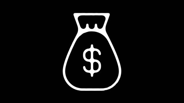 vidéos et rushes de animation en ligne tableau noir argent sac avec alpha - motion design