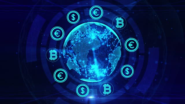 money blockchain cryptocurrency digital encryption, digital money exchange, technology global network connections background concept. animation 4k resolution - dollar symbol stock videos & royalty-free footage