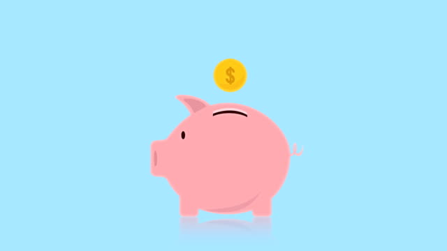 money coin enter inside piggy bank flat design animation, piggy bank, video animation, with alpha channel. - smooth stock videos & royalty-free footage