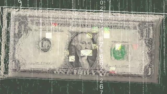 vídeos y material grabado en eventos de stock de dinero dólar falla pixelado - casa de la moneda