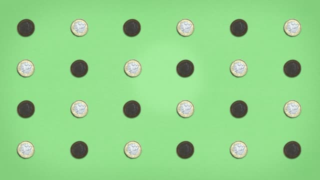 money grid - pound coins - stop frame animated - currency symbol stock videos & royalty-free footage