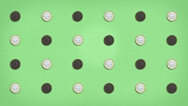 vídeos y material grabado en eventos de stock de cuadrícula de dinero - monedas de libra - stop frame animated - sencillez