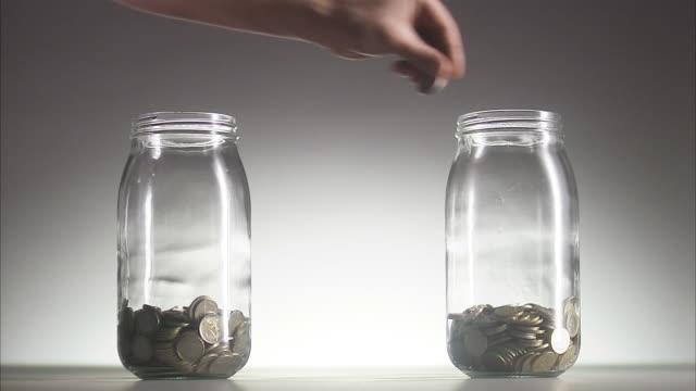 Money in jars.