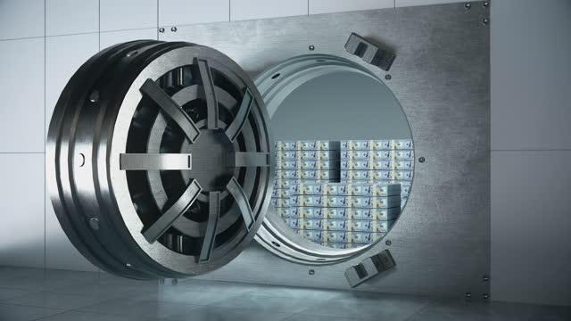 money ingot on safety - 4k resolution - arch stock videos & royalty-free footage