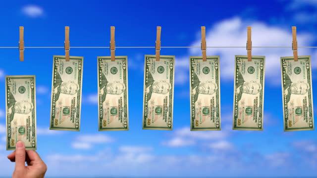 50ドルマネーライン、グリーンスクリーン上の50ドル紙幣の裏側 - 物干し点の映像素材/bロール