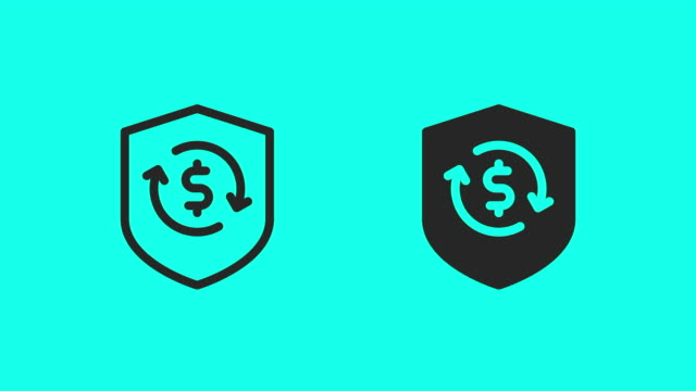 money protect icons - vector animate - shield stock videos & royalty-free footage