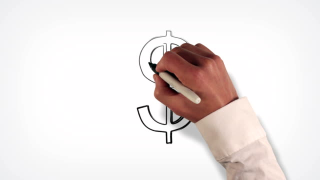 money symbol whiteboard stop-motion style animation - pencil drawing stock videos & royalty-free footage