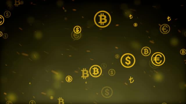 vídeos de stock e filmes b-roll de money symbols background - unidade monetária dos estados unidos