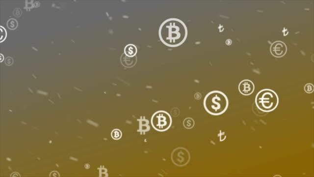 money symbols background - bitcoin stock videos & royalty-free footage