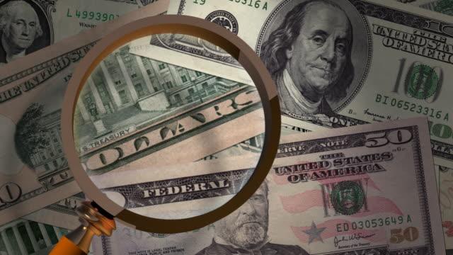 vídeos y material grabado en eventos de stock de dinero con lupa - benjamín franklin