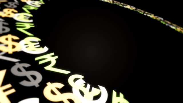 vidéos et rushes de argent mot sur fond noir - symbole du yen