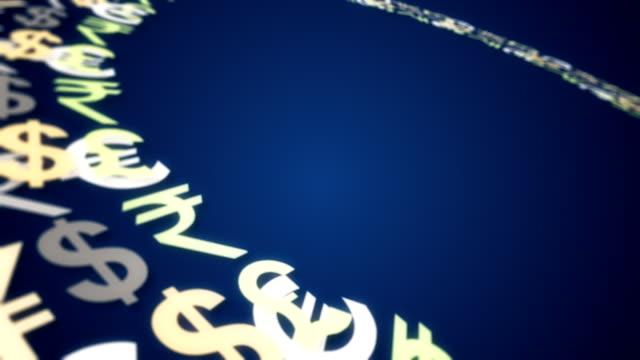 vidéos et rushes de argent mot sur fond bleu - symbole du yen