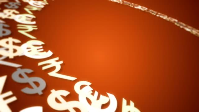 vidéos et rushes de argent mot sur fond orange - symbole du yen