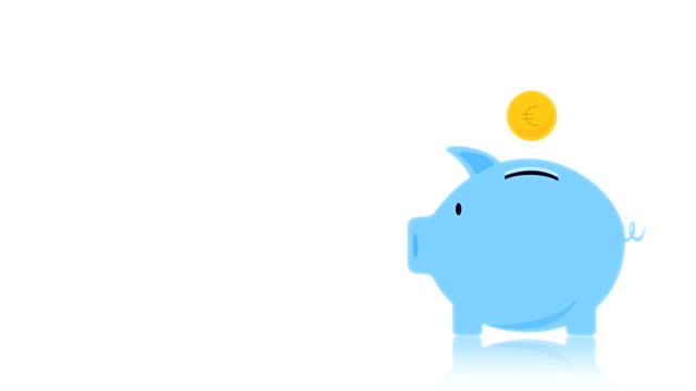 moneybox animation blue, alpha matte, chroma key. - pig stock videos & royalty-free footage