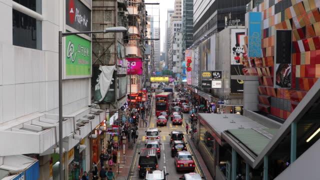 vídeos de stock e filmes b-roll de mong kok pedestrian street,hong kong,china - mong kok