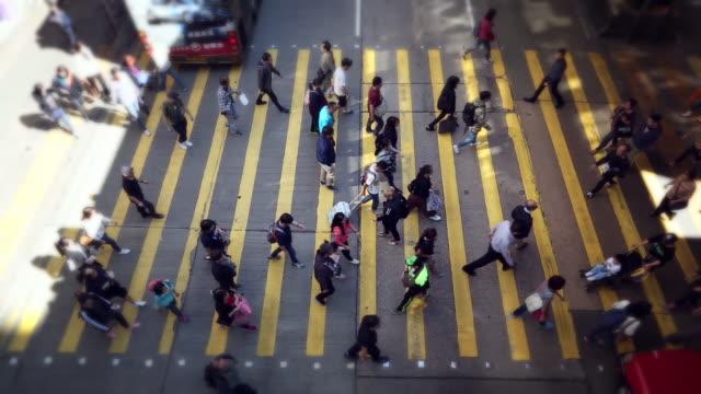 mong kok road zebra crossing in hongkong city - mong kok stock videos & royalty-free footage