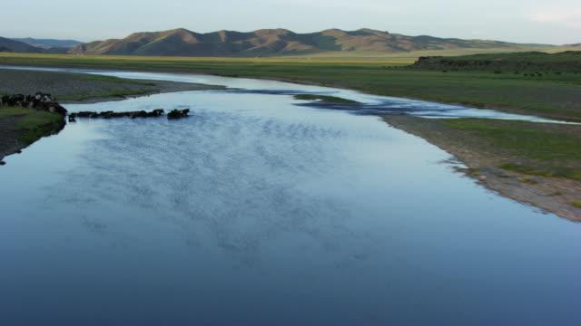 Mongolia : Close up of  winding streams