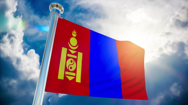 4k - mongolia flag   loopable stock video - country geographic area stock videos & royalty-free footage