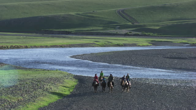 mongolia : herds of horses next to the winding streams - independent mongolia stock videos & royalty-free footage