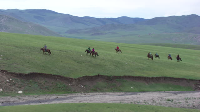 stockvideo's en b-roll-footage met mongolia : horses and rider galloping - mongolië