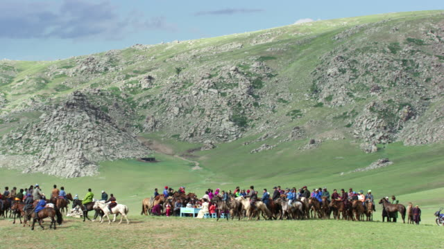 mongolia : wedding ceremony on horseback - independent mongolia stock videos & royalty-free footage
