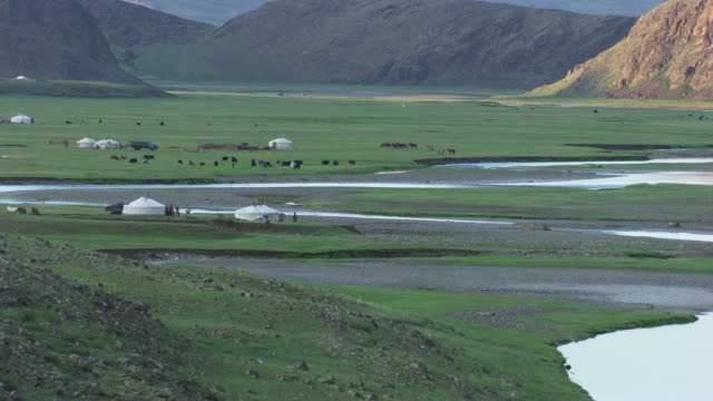 mongolia : wide plan of mongolian near the yurt - independent mongolia stock videos and b-roll footage